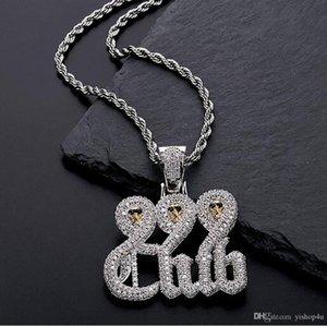 Branco crânio do ouro 999 Clube colar de pingente com 60 centímetros Cadeia Rope ALTA QUALIDADE Cubic Zirconia jóias hip hop.