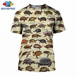 Sommer-Schildkröte Short Sleeve Untertiermeeresschildkröte Frauen Männer 3D-Druck Harajuku Ozean-T-Shirt Coral beiläufige Art und Weise T-Shirt