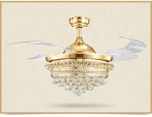 Ceiling Fan Chandelier Lights Modern Crystal Ceiling Fans With Remote Control Retractable Blades Changeable Light Gold 110v 220v