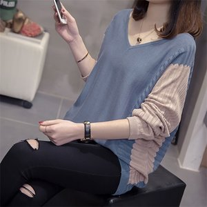 Plus Size V neck Pullover Women Sweater Autumn Clothes Fashion Loose Hollow Out Knitwear Office Oversized Korean Style Jumper 0925