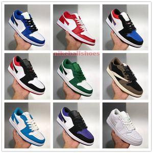 2020 Джордон 1 Low Mens Womens ботинки малышей для продажи с Box Hyper Royal Varsity Red Gym Red Multi-Color UNC Basketball обувной магазин US4-US11
