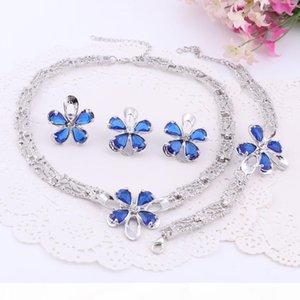 Trendy Dubaï Perles Or Argent Plaqué Collier Cristal Boucles d'oreilles Bague Bracelet Ensembles de bijoux pour femmes Petite amie de soirée de mariage
