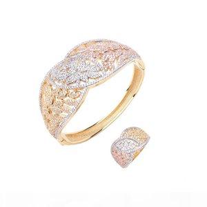 Luxury fashion classic multicolor bracelet ring copper zircon jewelry bride wedding party jewelry in Dubai, Africa B1106