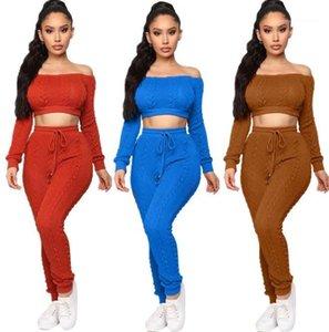 Women Pants Suits Autumn Women 2 Piece Set Casual Solid Color Off Shoulder LOng Sleeve Sweater Sets New