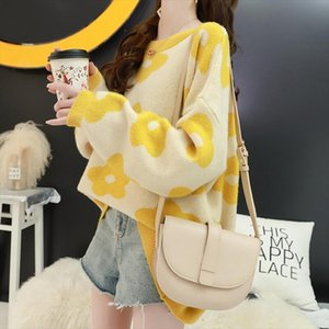2020 Women Sweater Casual Full Sleeve O Neck Printed Floral Warm Soft Autumn Winter Female Pullover Thick Knit