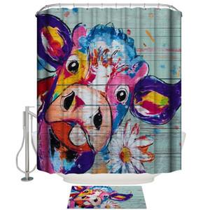 Bad Duschvorhang Holzmaserung Aquarell Kuh Daisy Duschvorhänge Home Bad Dekor Vorhang Fußmatte Set