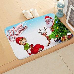 Noël Nouvel An de vacances Elk personnes âgées Tapis Paillasson Chambre Salle de bains Maison Absorbent antidérapage Tapis sol