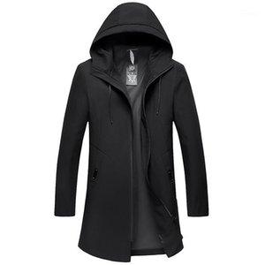 Fermuar Homme Erkek Hoodede İnce Uzun Ceket Sonbahar Kış Katı Renk Casual ile Ceket