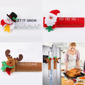 Рождественский стол Ручка крышки Санта Elk Снеговик двери перчатки Холодильник Защита духовки Крышка Xmas Кухня Декор AHB1061