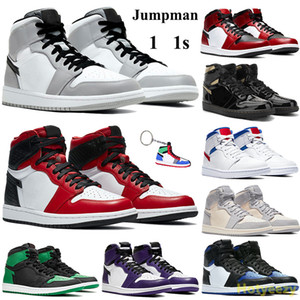 Keychain Alto 1 1s Jumpman tênis de basquete Smoke Light Gray Mid Chicago Toe Homens Mulheres Sneakers Red White Real UNC cetim Formadores de cobra