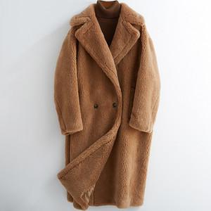 2020 Yün Ceket Gerçek Kürk Kadınlar Sonbahar Kış Kalın Sıcak Yumuşak Polar Ceket Cep Dış Giyim Palto Ayı Teddy