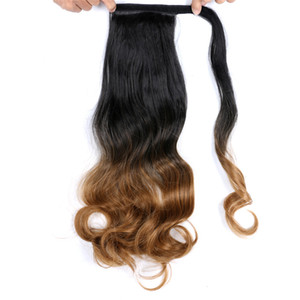 "17"" Long Wavy Wrap Around Clip In Ponytail Hair Extension 110g pc Heat Resistant Synthetic Natural Wave Pony Tail Fake Hair"