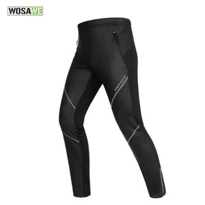 Racing Pants WOSAWE Unisex Cycling Long Windproof Fleece Thermal Winter Windbreak Sports Pant Tights Bicycle Clothing