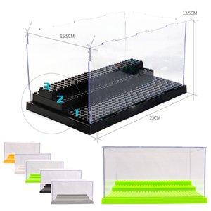1 caixa 3 etapas Display Case / Caixa Dustproof Showcase Grey base para Blocks plástico acrílico Exibição Caso Box 25.5X15.5X13.8cm