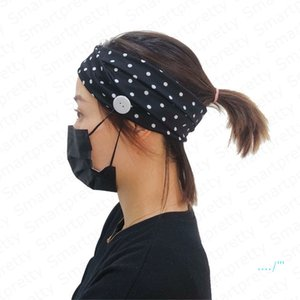 Meninas Headband cor sólida Sports Mulheres Gym Knit Hairband com Botão Wearable Rosto máscara protetora auriculares com atenuação absorção do suor Hairlace E4911