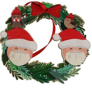 Decorazioni natalizie Garlands Santa Snowman Mask Face Mask Hot Greazer di Natale Pendent Porta Porta Hang Wreaths Ornamenti Decorazione della casa E92604