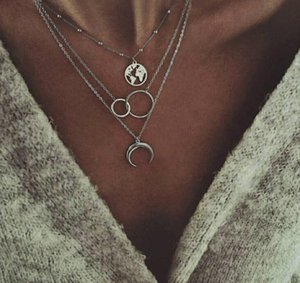 Women's Multilayer Moon Map Necklace Personality Bohemian Ladies Multilayer Necklace GD705