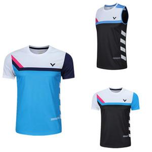 2020 nuovi VICTOR tennis uomini della maglietta donne. camicie di badminton per uomo, pullover di tennis da tavolo Allenamento maglietta nome della stampa libera
