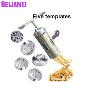 Aço inoxidável CommercialHousehold 5 Styples Pasta Noodle Mão Criador manual Press Machine