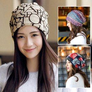 2 Utilizzare donne della stampa del modello Beanie Fashion Casual Elastic Cotton Beanie Cappello Turbante per l'autunno inverno del collo della sciarpa del cappello di Hip Hop Cap