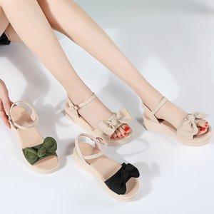 Weideng Kalın Soled Sandalet Moda Yamaç Topuk Şık Toka Bow Kayma Önleyici Günlük Artış Yaz Rahat Güzel Kadınlar 5cm