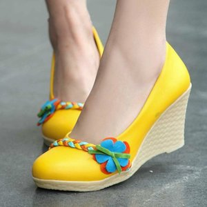 Pumps Spring and autumn The New fashion Round head Shallow mouth Color matching Flower Wedge mid heel Women's shoes 34-39