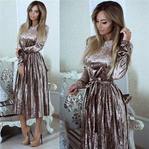 SusiRita Vintage robe à manches longues en velours Femmes 2019 Robe moulante Belted Midi printemps Parti plissés Robes Robes Robe Femme