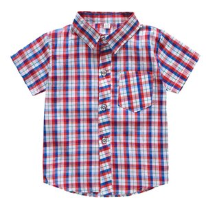 Promotion Hot Sale Boys Shirts Classic Casual Stripe Plaid Pocket Children T-shirt Tops Casual Clothes Kids Boy Wear