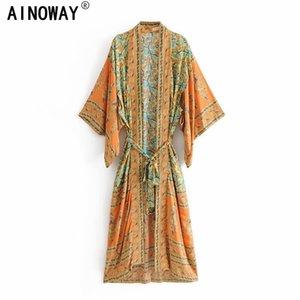 Vintage chic Women yellow Floral Print Sashes bohemian Kimono Ladies V Neck batwing Sleeves Boho Maxi dress robe 200924