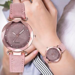 Femmes Casual Romantique Starry Sky montre-bracelet en cuir strass Designer Mesdames Horloge Simple Robe Gfit Montre Femme