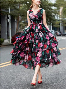 European and American elegant holiday style high-quality pink rose print wood ear V-neck elastic waist cake dress