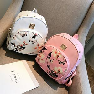 Ode à Alegria coreano Estilo Borboleta Flor Backpack Rebitando prego Daffodil Backpack das mulheres Bag Casual