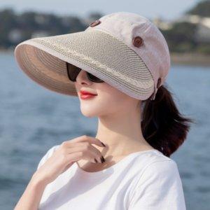 krfPD 2019 Sommer neuer Sonnenschutz Sonne im Freien großen Rand hohles Spitze Stroh Falten Strand Straw fake fake hut Hut für Damen