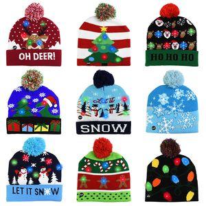 LED cálido Navidad hicieron punto los sombreros de los niños del bebé Las madres de Invierno Gorros Crochet los casquillos para fiesta de la calabaza muñecos de nieve accesorios de regalo de la decoración del partido
