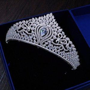 Decoración de la boda Queenco Corona de cobre tiara nupcial accesorios para el cabello diadema circón piedra princesa Diadema Mujeres Accesorios 4xcx #