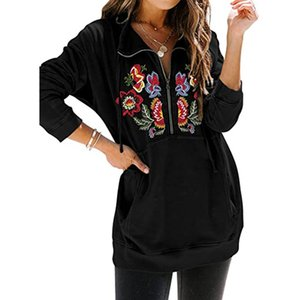 2020 New sweater woman Floral flower embroidere Hoodie Women Fashion Loose Embroidery Rose Design Hooded Sweatshirt Long Sleeve Hoody Top