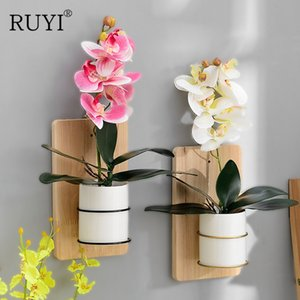 Nordic Creative Wall Hanging Flower Pot Ceramic INS Simulation Plant Phalaenopsis Hydroponic Small Flower Office Home Decoration