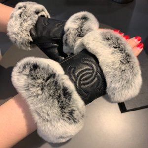 2020 new ladies high-end lazy rabbit fur sheepskin embroidered warm gloves