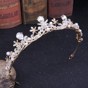 FORSEVEN Kadınlar Düğün Saç Aksesuarları Kristal Tiaras ve Kron Pearl Rhinestone Diadem başlıkiçi Gelin Saç Takı JL