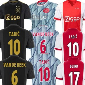 2021 AJAX 홈 멀리 푸른 NERES PROMES 남성의 축구 유니폼을 빨간색 (20) (21) 반 데 크는 타 디치 아이 키트 AJAX의 voetbalshirt 축구 유니폼 셔츠 (20) (21)