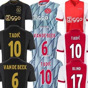 2021 maison AJAX rouge loin bleu NERES PROMES maillot de football Hommes 20 21 VAN DE BEEK TADIC kit enfants AJAX voetbalshirt le football uniforme chemise 20 21