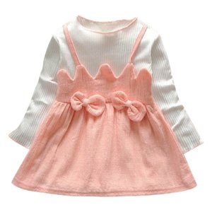 Clearance New autumn Toddler Kid Baby Girl Long Sleeve Bow Patchwork Party Princess Dress Tops 0116
