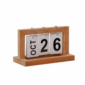 Desktop Modern madeira Advent Table Desk Calendar Wood Block Planer Permanente de desktop Agenda Organizer do6m #