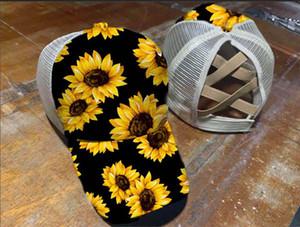 Pamuk Trucker Yıkanmış 12style Çapraz Şapka at kuyruğu Beyzbol şapkası Criss Çapraz Ayçiçeği Leopar Şapkalar Snapback Giysi S Mesh Cap GGA3655-2 Caps