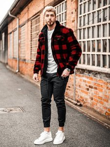 Uomo rosso plaid giacche moda autunno inverno risvolto collo bottone tasca tasca da tasca alta strada camicia giacca uomo hip hop tuta sportiva