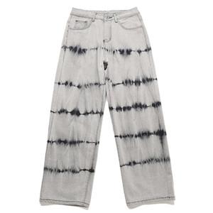 Омывается Tie Dye Полосатый Печать мешковатые джинсы Мужчины Японский Повседневный Denim Pant Punk High Street Style Jeans Fashion Streetwear