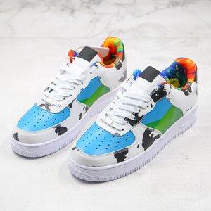 Verão 2020 Homens e Mulheres respirável Almofada de couro liso Casual Sapatos esportivos Milk Impressão Sapatos Moda Conselho Lace Up Shoe Walking