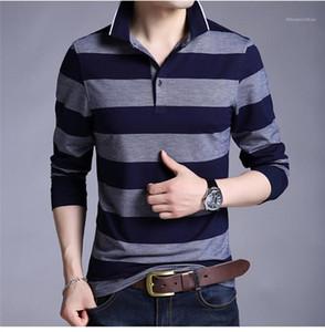 Revers manches longues col Printemps Automne manches Bouton T-shirts Maillot Homme Casual Mode Hauts Aîné Hommes rayé en vrac Homme Polos