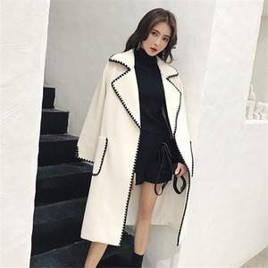 Elegant Black White Wavy Wool korean coats for women Autumn Winter New Casual Fashion Jacket Loose Plus Size Ladies Streetwear