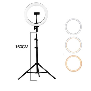 Photography LED Selfie Ring Light 26cm Three-speed Stepless Lamp Flash With Phone Holder With 1.6m Tripod for Makeup Video Live Studio
